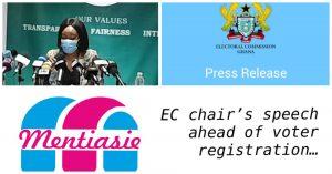 Full text EC Chair: speech ahead of voter registration exercise
